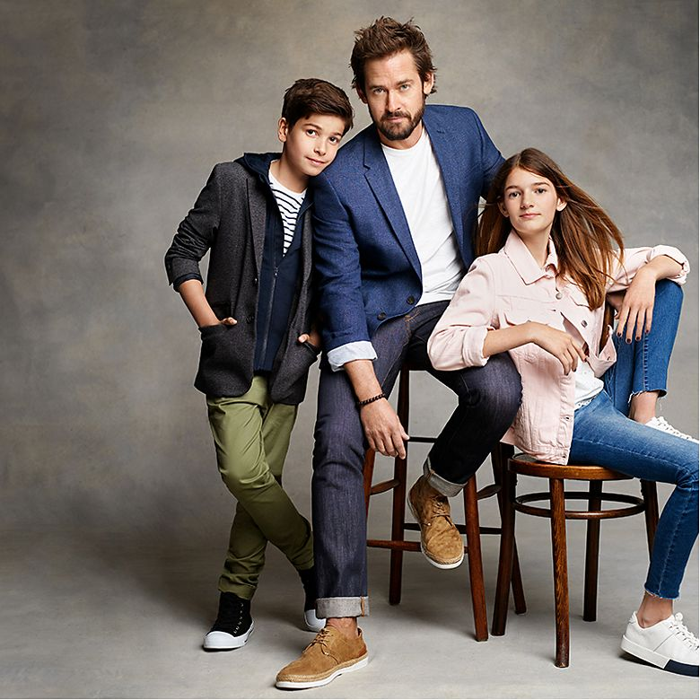 Actor Will Kemp and his children Thalie and Indigo wearing M&S
