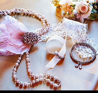 Bridal rings, bracelets and beads