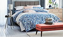 Patterned bedding set on double bed