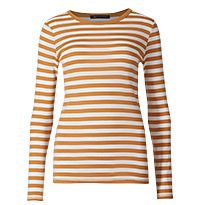 Orange and white striped long-sleeve T-shirt