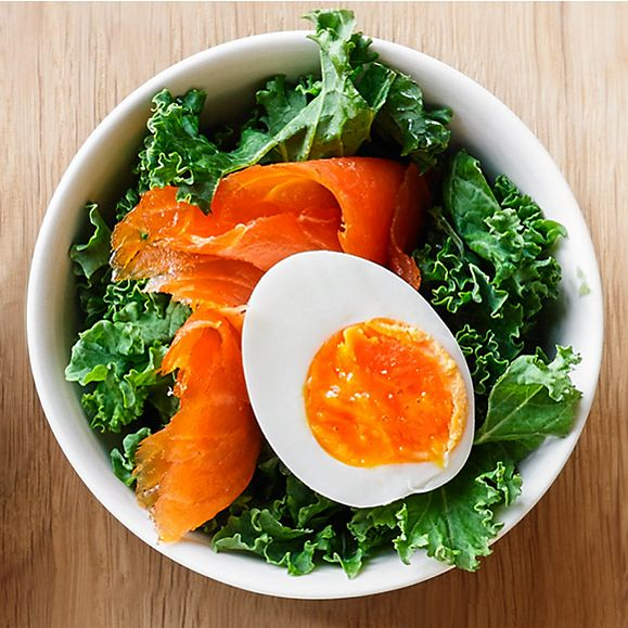 A boiled egg, smoked salmon and kale for a healthy lunch