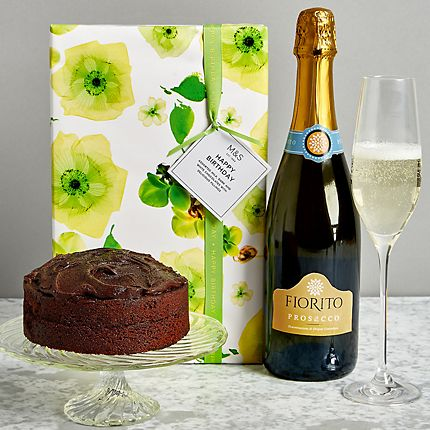 Prosecco and chocolate cake gift