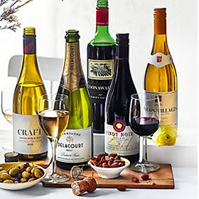 Selection of Easter wines with nuts and olives