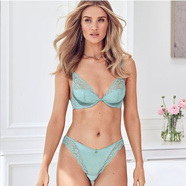 Rosie Huntington-Whiteley in an aqua silk and lace set
