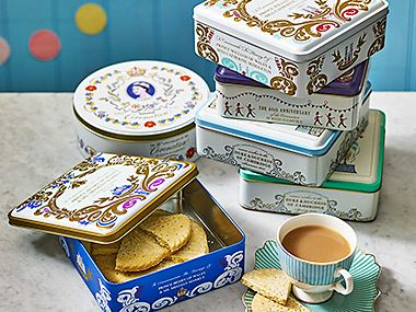 Stack of royal shortbread biscuit tins
