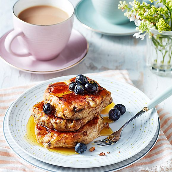 Fruity French toast drizzled in maple syrup, with a cup of tea