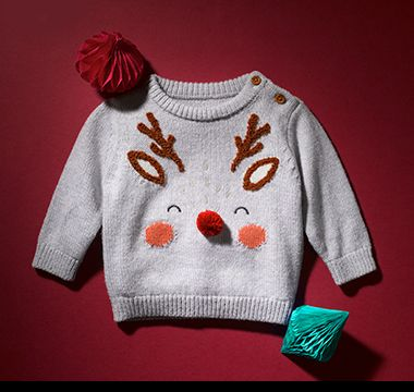 M&S baby Christmas jumper with reindeer on the front