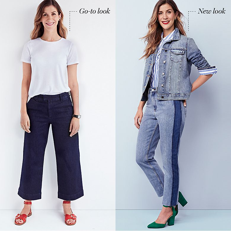 Woman swaps her favourite wide-leg jeans for two-tone jeans