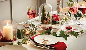 Christmas table setting with festive crockery