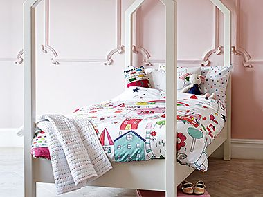 Kids' bedding on a children's bed