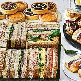 Sandwiches and afternoon tea cakes