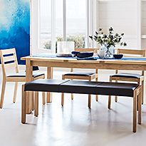 Sonoma Blonde dining table, chairs and bench