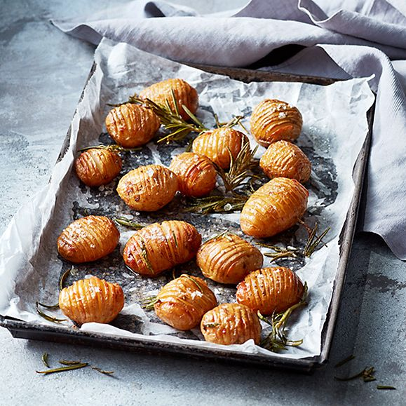 Hasselback Jersey Royal potatoes with rosemary and sea salt