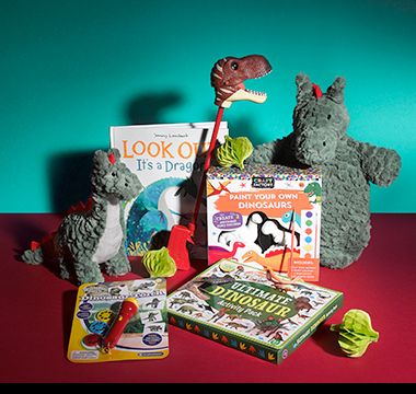 M&S dinosaur shop including books, toys and hot-water bottle