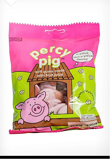 Percy Pig pink fruit sweets packaging, 1990-00s