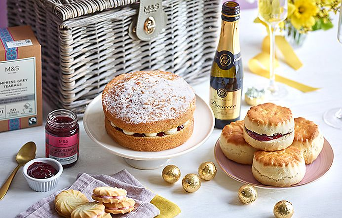 Tea Time Treats Hamper With Cake Scones And Prosecco