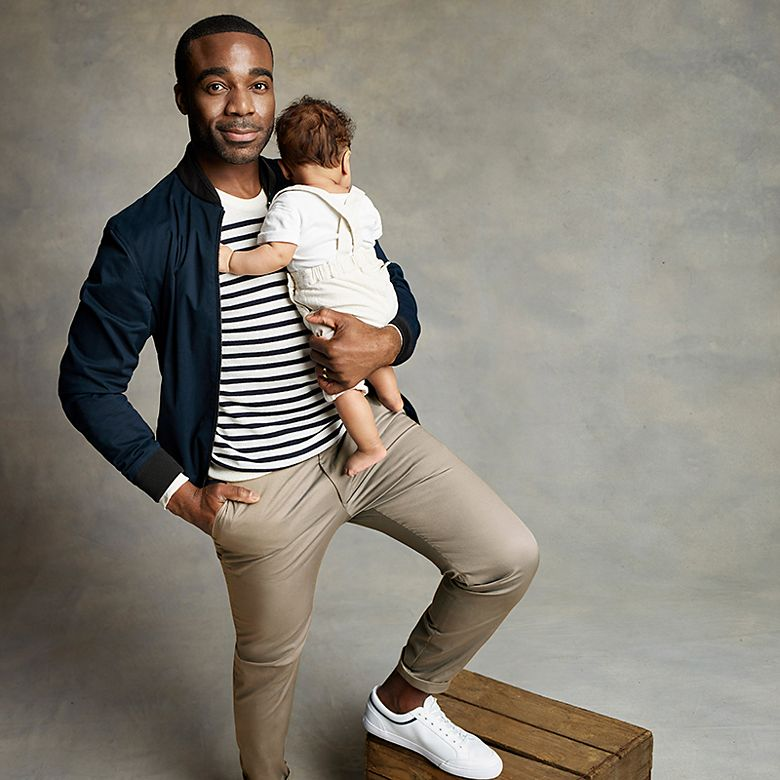 Ore Oduba with his baby son Roman wearing M&S