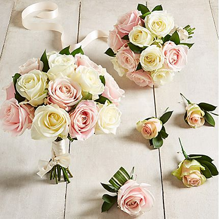 Pink and cream wedding roses