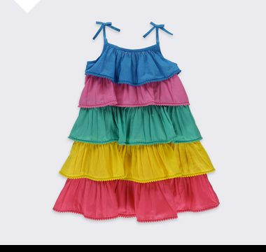 Multi-coloured tiered girls' beach dress