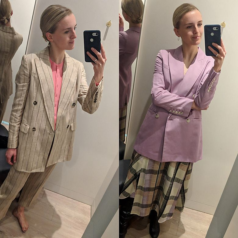 Joy Montgomery wears striped linen suit, as well as lilac linen jacket and checked skirt from M&S