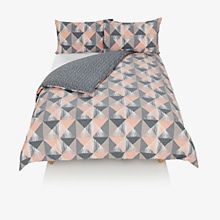 A pink and grey bedding set