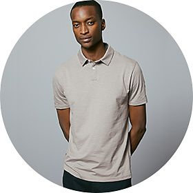 Man wearing grey polo shirt