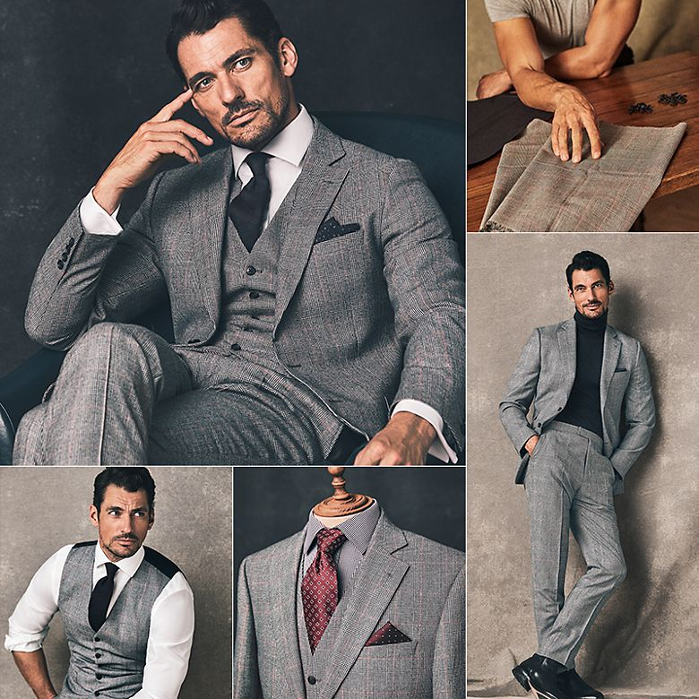 David Gandy wearing a three-piece checked grey suit