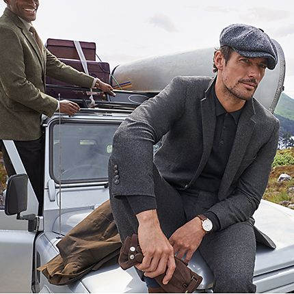 David Gandy wearing wool blend suit