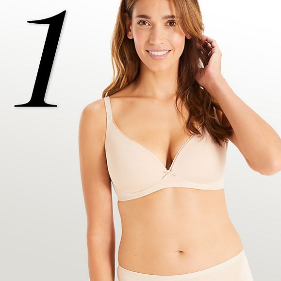 Woman wearing almond-shade maternity bra