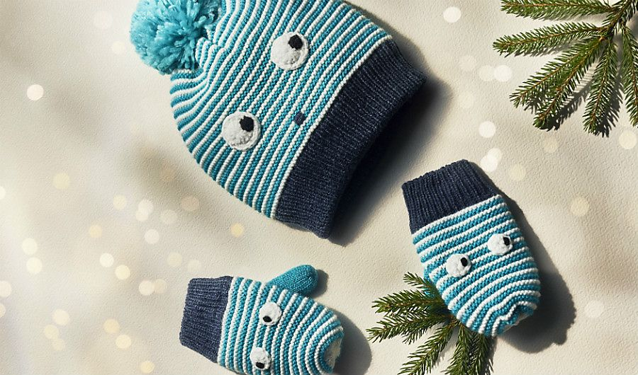 Kids' striped face hat and mittens set