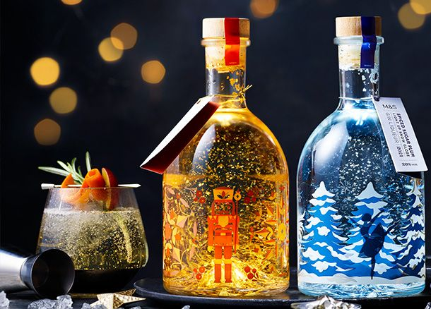 Light-up snow globe gin liqueurs