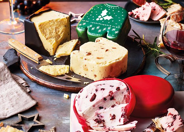 A selection of Christmas cheese and vegan cheese