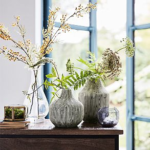 Flowers and foliage in ceramic vases