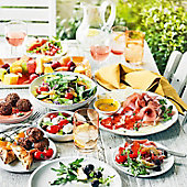 A selection of mixed platters and salads