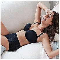 Woman wearing black bra and black light control Secret Slimming™ Brazilian knickers
