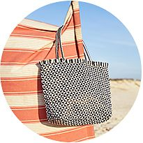Monochrome straw beach bags