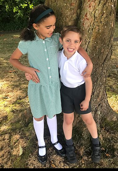 School children wearing M&S uniform