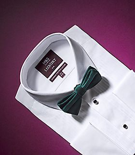 Men's white formal shirt and green bow tie