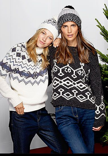 Women wearing Nordic pattern jumpers