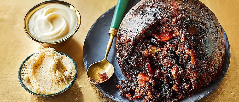 M&S Christmas pudding on a serving plate