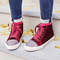 Red sparkly sneakers