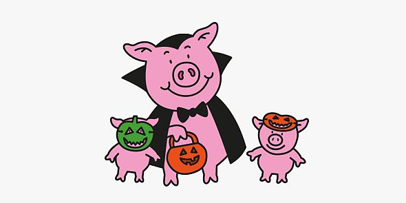 Percy pumpkin with piglets
