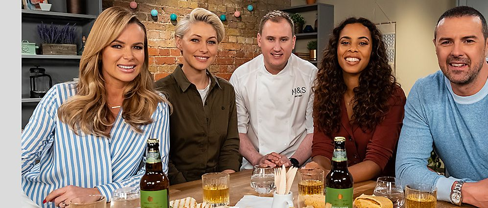 Celebrity panel Amanda Holden, Emma Willis, Rochelle Humes and Paddy McGuinness with M&S development chef Jon