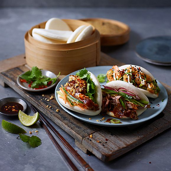 M&S bao buns with meat and vegetable fillings