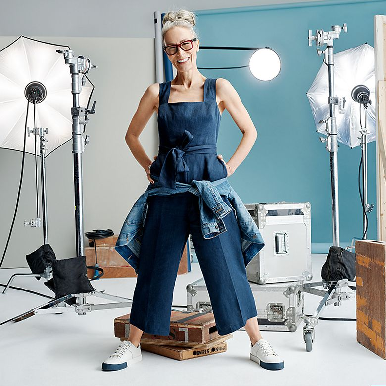 Caryn Franklin wearing a linen jumpsuit