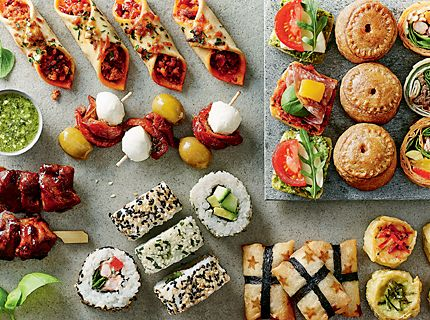 Party food, sandwiches and platters