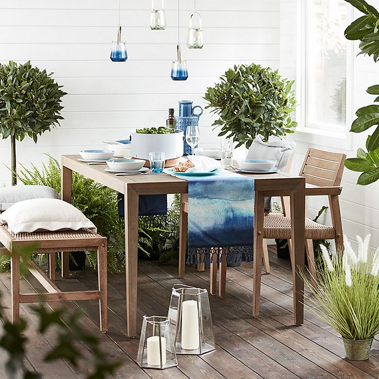 Tuscany eucalyptus wood and wicker garden table and chairs
