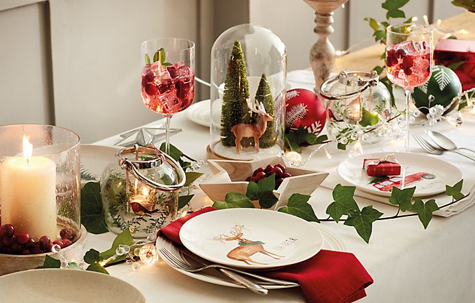 Christmas crockery and glassware on a table