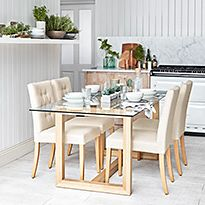 Colby glass dining table and chairs