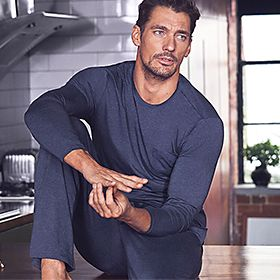 David Gandy wearing blue loungewear
